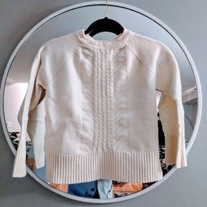 J Crew thick wool cream cable sweater